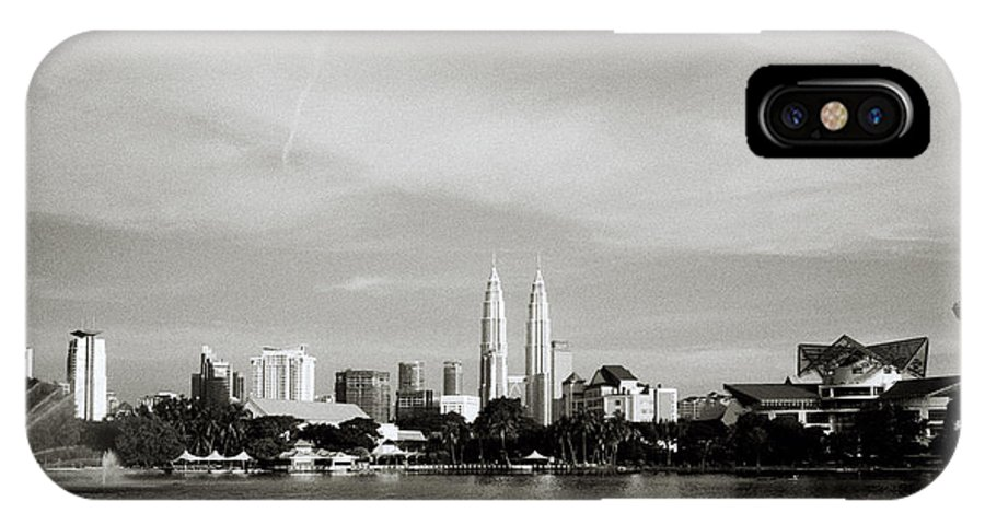 Black And White IPhone X Case featuring the photograph Lake Titiwangsa by Shaun Higson