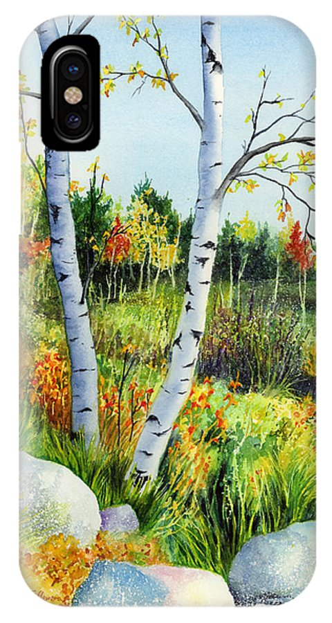 Birches IPhone X Case featuring the painting Lakeside Birches by Hailey E Herrera