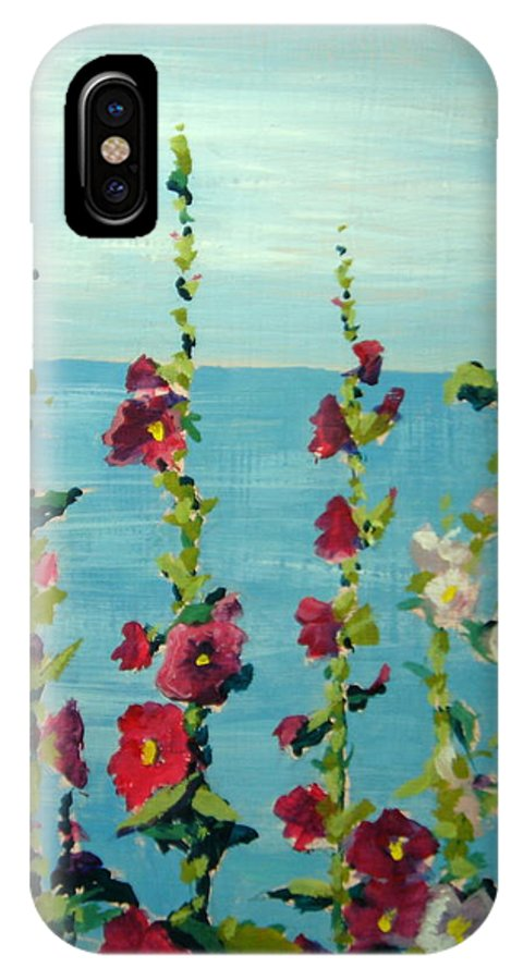 Lake IPhone Case featuring the painting Lakeside Hollyhocks by Judy Fischer Walton