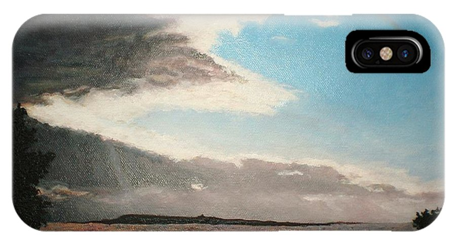 Landscape IPhone X Case featuring the painting Lakeside by Kim Cyprian