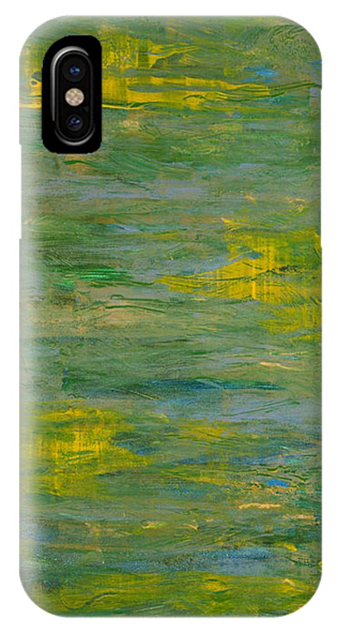 Abstract IPhone X Case featuring the painting Lakeside Sun by Corie Weaver