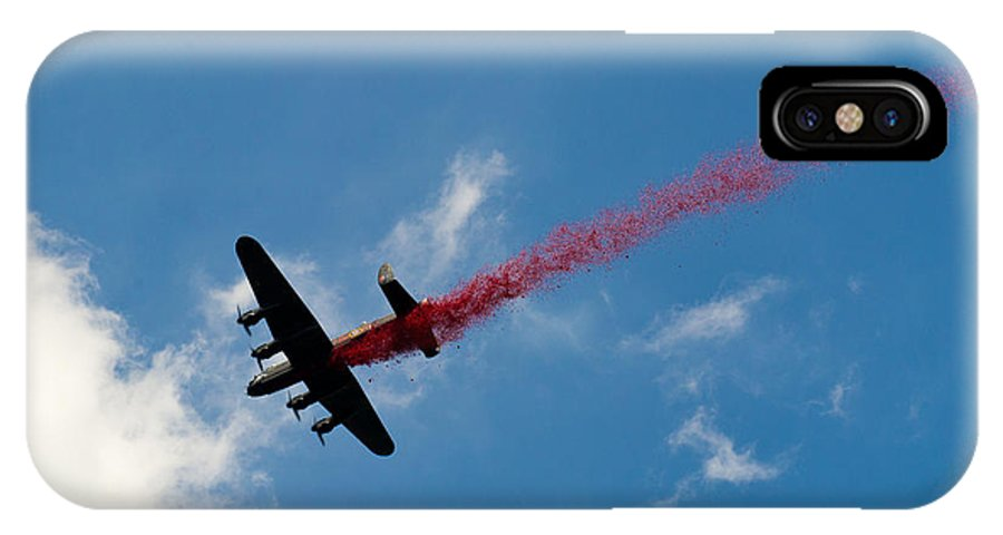 Bbmf IPhone X Case featuring the photograph Lancaster Bomber Drops Poppies Over London by Gary Eason