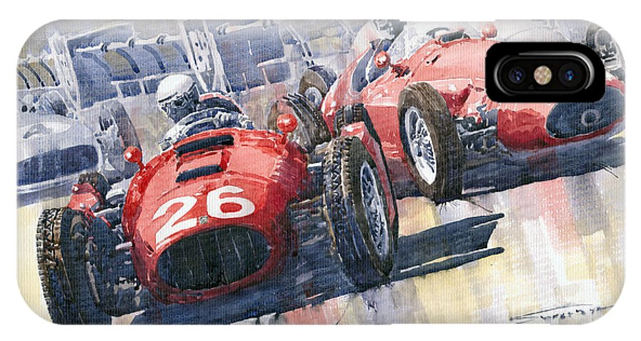 Watercolour IPhone X Case featuring the painting Lancia D50 Alberto Ascari Monaco 1955 by Yuriy Shevchuk