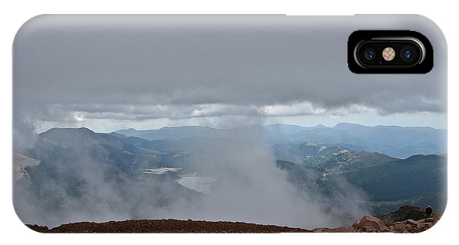 Pikes Peak IPhone X Case featuring the photograph Land And Clouds Converge by Susan Herber