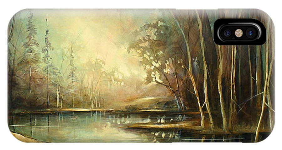 Landscape IPhone X Case featuring the painting Landscape by Michael Lang