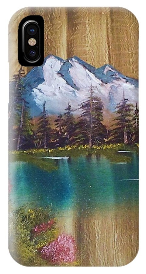 Sold * Landscape IPhone X Case featuring the painting Landscape On Old Barn Siding by Lee Bowman
