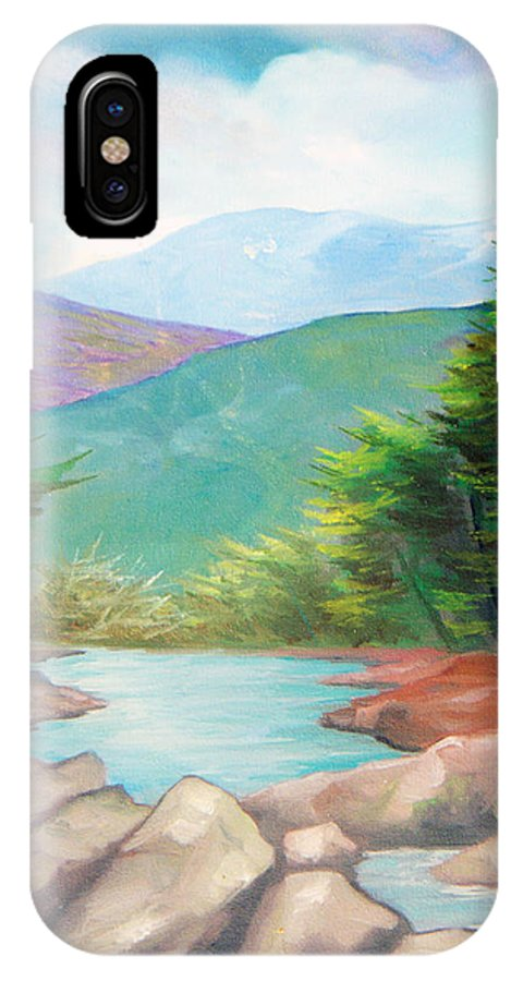 Bayou IPhone X Case featuring the painting Landscape With A Creek by Sergey Bezhinets