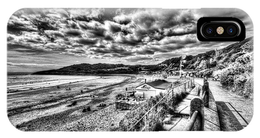 Langland Bay Beach Huts IPhone X Case featuring the photograph Langland Bay Mono by Steve Purnell