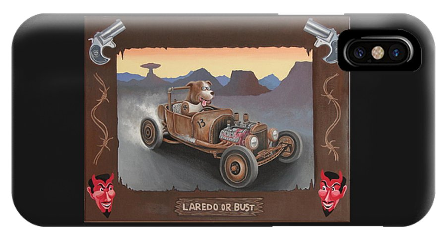 Rat Rod IPhone X Case featuring the painting Laredo Or Bust by Stuart Swartz