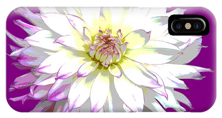 Dahlia IPhone X Case featuring the digital art Large White Dahlia On Purple Background. by Rosemary Calvert