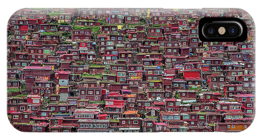 Architecture IPhone X Case featuring the photograph Larung Gar by Tianyu