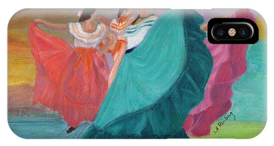 Dancers IPhone X Case featuring the painting Las Bailarinas De Costa Rica by Linda Feinberg