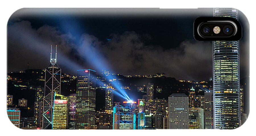 Laser Show IPhone X Case featuring the photograph Laser Show In Hk by Thierry CHRIN