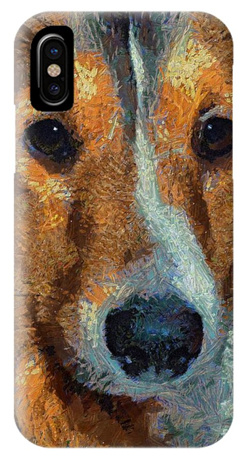 Dog IPhone X Case featuring the painting Lassie - Rough Collie by Dragica Micki Fortuna