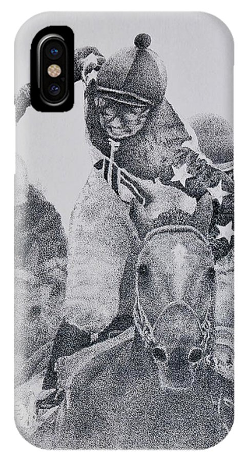 Horses Horse Racing Jockeys Racetrack Azeri Thorobreds IPhone X Case featuring the painting Last Call by Tony Ruggiero