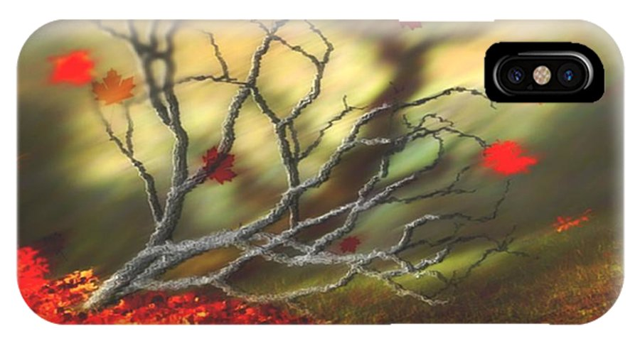 Autumn IPhone X Case featuring the digital art Last Leaves by Dr Loifer Vladimir