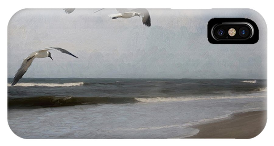 Ocean IPhone X Case featuring the painting Laughing Gulls Over Nags Head by Forest Stiltner