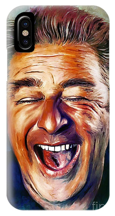 Actor IPhone X Case featuring the painting Laughter Is The Best Medicine by Andrzej Szczerski