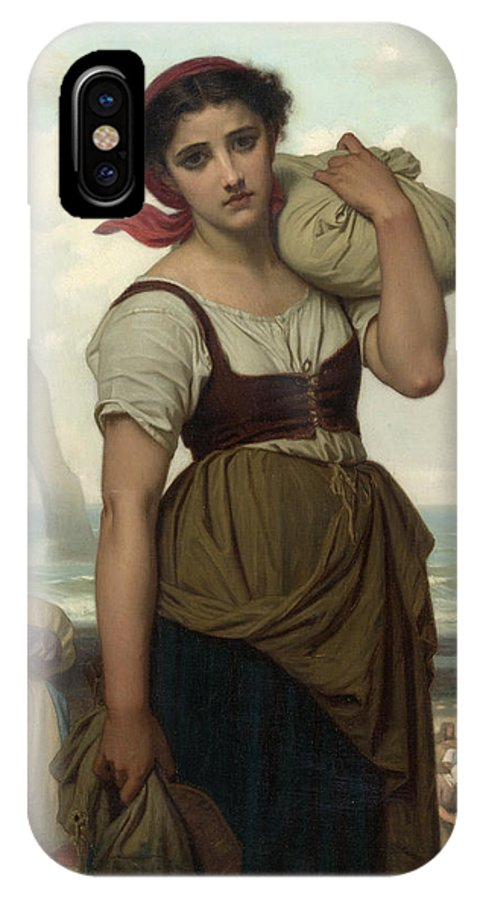 Hugues Merle IPhone X Case featuring the painting Laundress At Etretat by Hugues Merle
