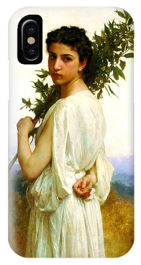 Laurel Branch IPhone X Case featuring the painting Laurel Branch by William-Adolphe Bouguereau