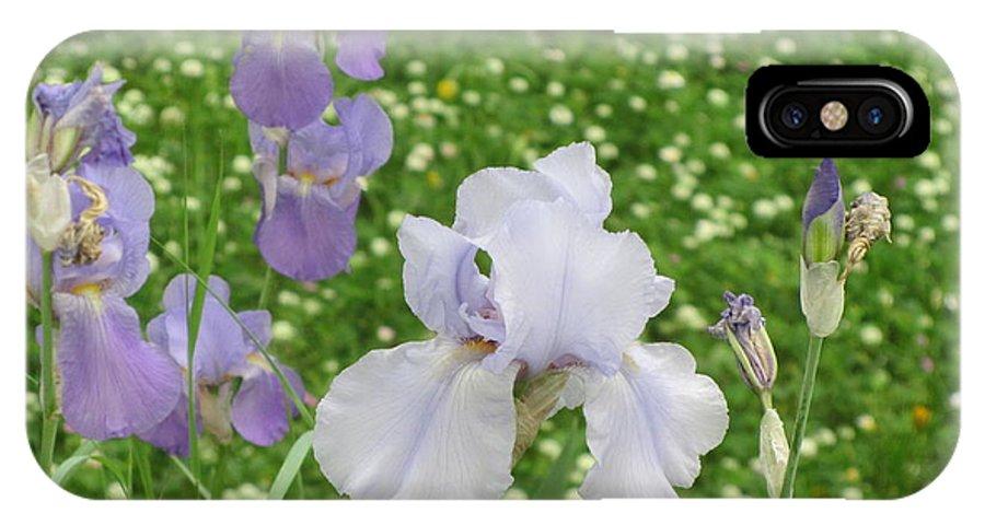 Iris IPhone X Case featuring the photograph Lavender Iris by Iris Prints