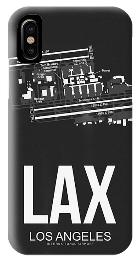 Los Angeles IPhone X Case featuring the digital art Lax Los Angeles Airport Poster 3 by Naxart Studio