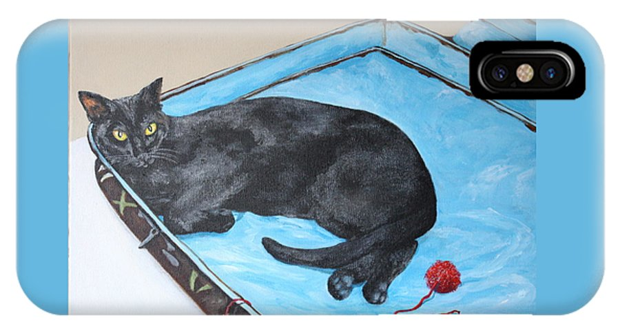 Black Cat IPhone X Case featuring the painting Lazy Black Cat by Jean Walker