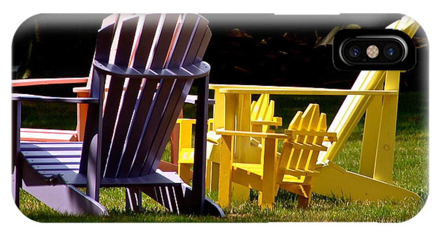 Colorful Adirondack Chairs IPhone X / XS Case featuring the photograph Lazy Days by Ira Shander