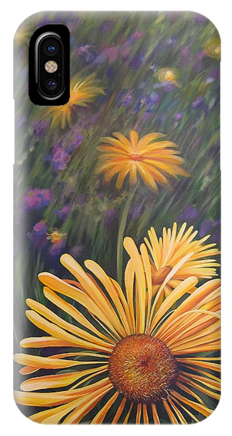 Wildflowers IPhone X / XS Case featuring the painting Lazy Sunday by Hunter Jay