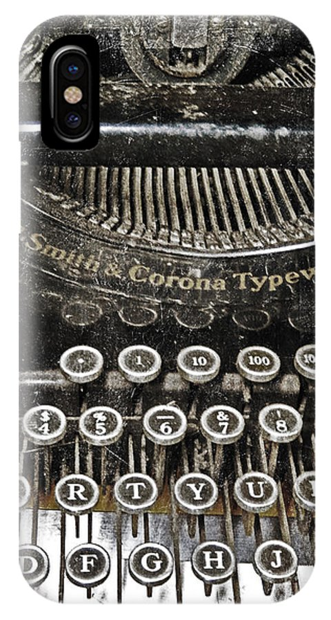 Typewriter IPhone X Case featuring the photograph L.c. Smith by Kelley Freel-Ebner