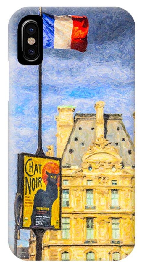 Le Chat Noir IPhone X Case featuring the digital art Le Chat Noir by Liz Leyden