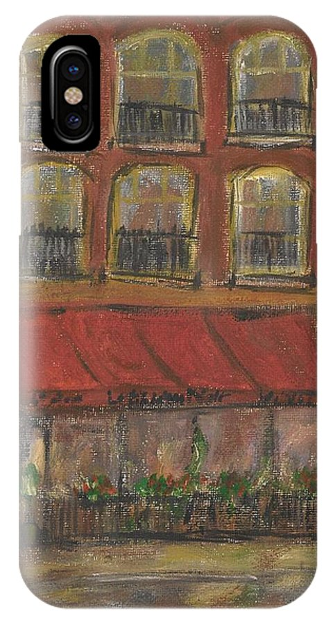 Restaurant IPhone X Case featuring the painting Le Chien Noir by David Dossett