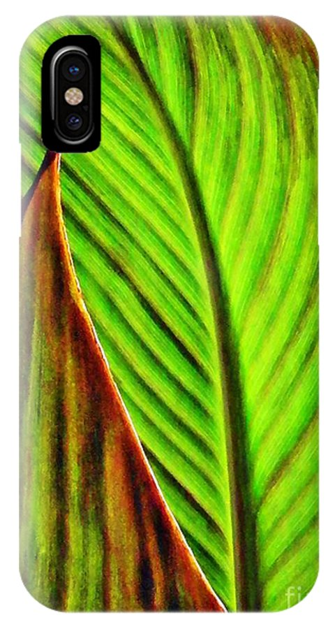 Leaf IPhone X Case featuring the photograph Leaf Abstract 4 by Sarah Loft