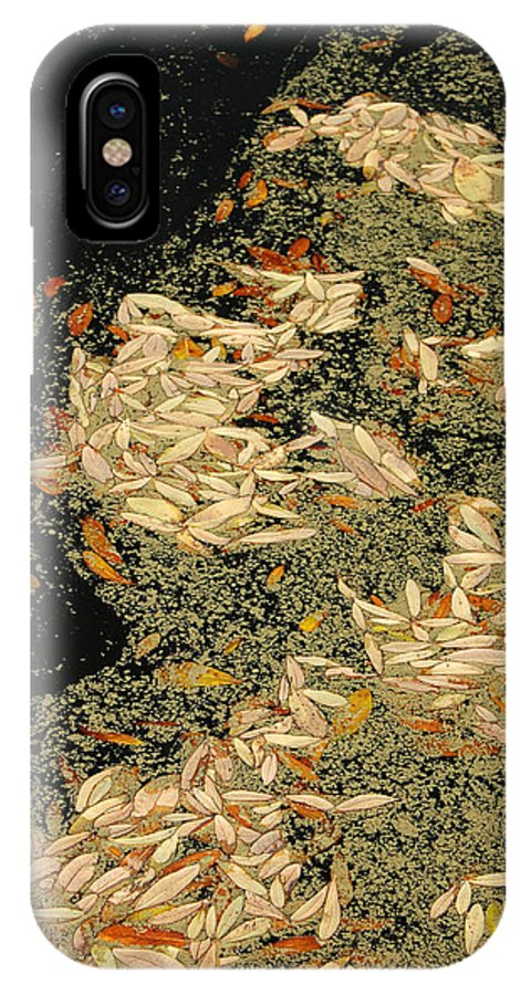 Klimt IPhone X Case featuring the photograph Leaf Abstract Ode To Klimt by Suzanne Gaff