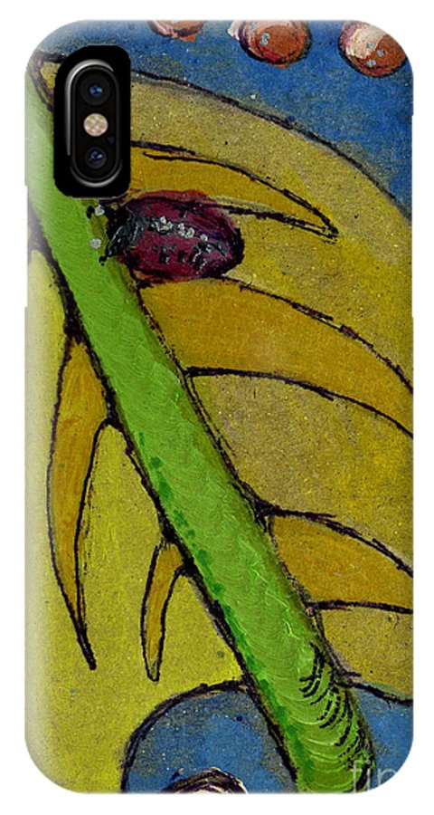 Cathy Peterson IPhone X Case featuring the painting Leaf And Ladybug Series No. 3 by Cathy Peterson
