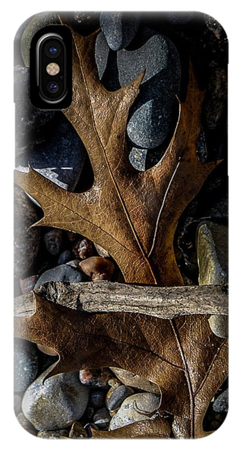 Leaf IPhone X Case featuring the photograph Leaf And Stones by Ronald Grogan