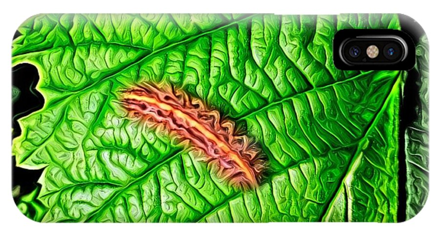Leaf IPhone X Case featuring the digital art Leaf Eater by Ron Bissett