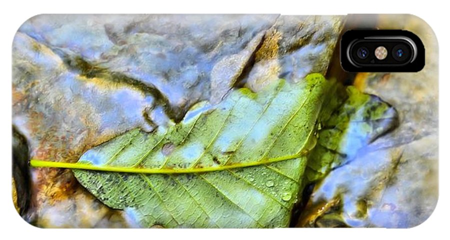 Leaf.color.water.underwater IPhone X Case featuring the photograph Leaf Flowing Like Water by Bret Gardner