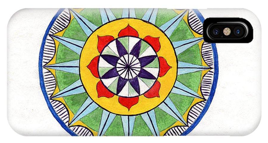 Mandala IPhone X Case featuring the painting Leaf Mandala by Silvia Justo Fernandez