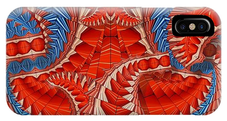 Abstract IPhone X Case featuring the digital art Leaf Pattern In Red by Ron Bissett