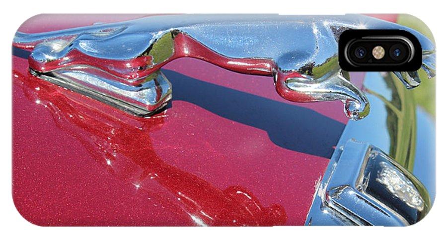 Jaguar IPhone X Case featuring the photograph Leaper Hood Ornament On Red Jaguar by Mark Steven Burhart