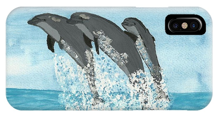 Leaping Dolphins IPhone X Case featuring the painting Leaping Dolphins by Tracey Williams