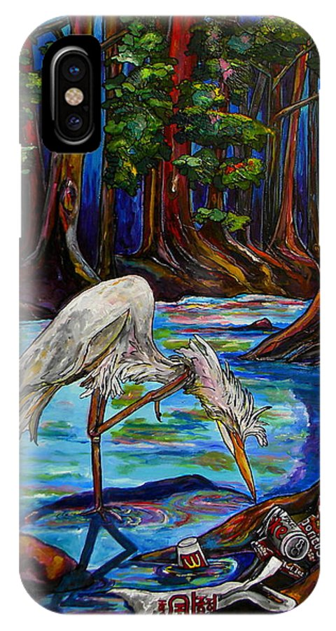 Egret IPhone X Case featuring the painting Leave Only Footprints by Patti Schermerhorn