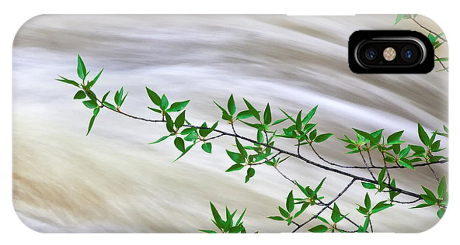 Water IPhone X Case featuring the photograph Leaves And Rushing Water by Jim Young