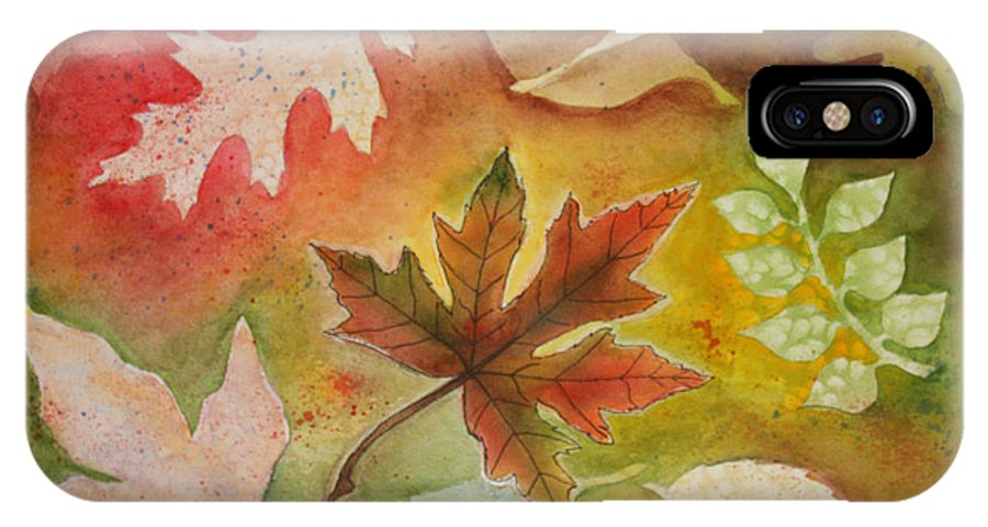 Leaves IPhone X Case featuring the painting Leaves l by Patricia Novack