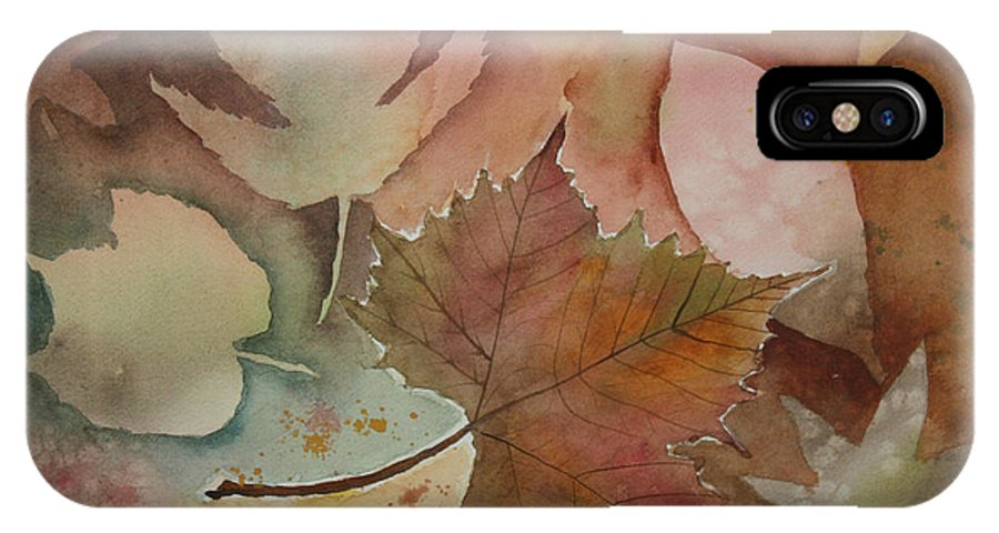 Leaves IPhone X Case featuring the painting Leaves by Patricia Novack