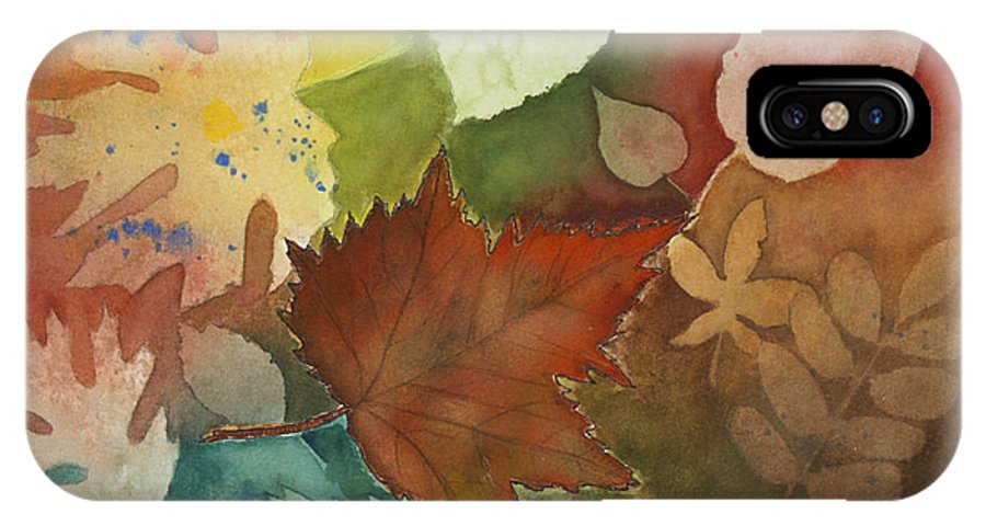 Leaves IPhone X / XS Case featuring the painting Leaves Vl by Patricia Novack
