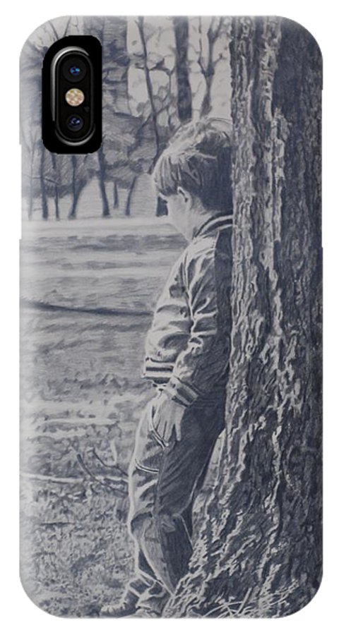Little Boy Trees Black & White Park IPhone X Case featuring the drawing Lee by Shelia Doebereiner