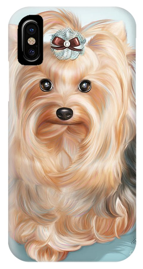 Yorkie IPhone X Case featuring the mixed media Leetl Luloo Zazu by Catia Lee
