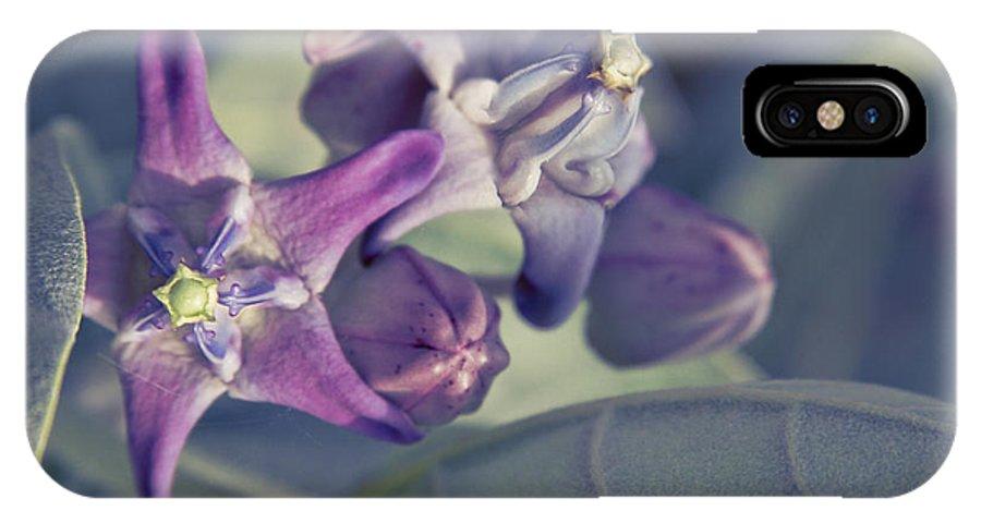 Aloha IPhone X Case featuring the photograph Lei Pua Kalaunu - Crown Flower - Calotropis Gigantea by Sharon Mau